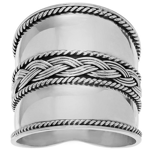 Women's Journee Collection Braided Design Wide-cut Statement Ring in Sterling Silver - image 1 of 2