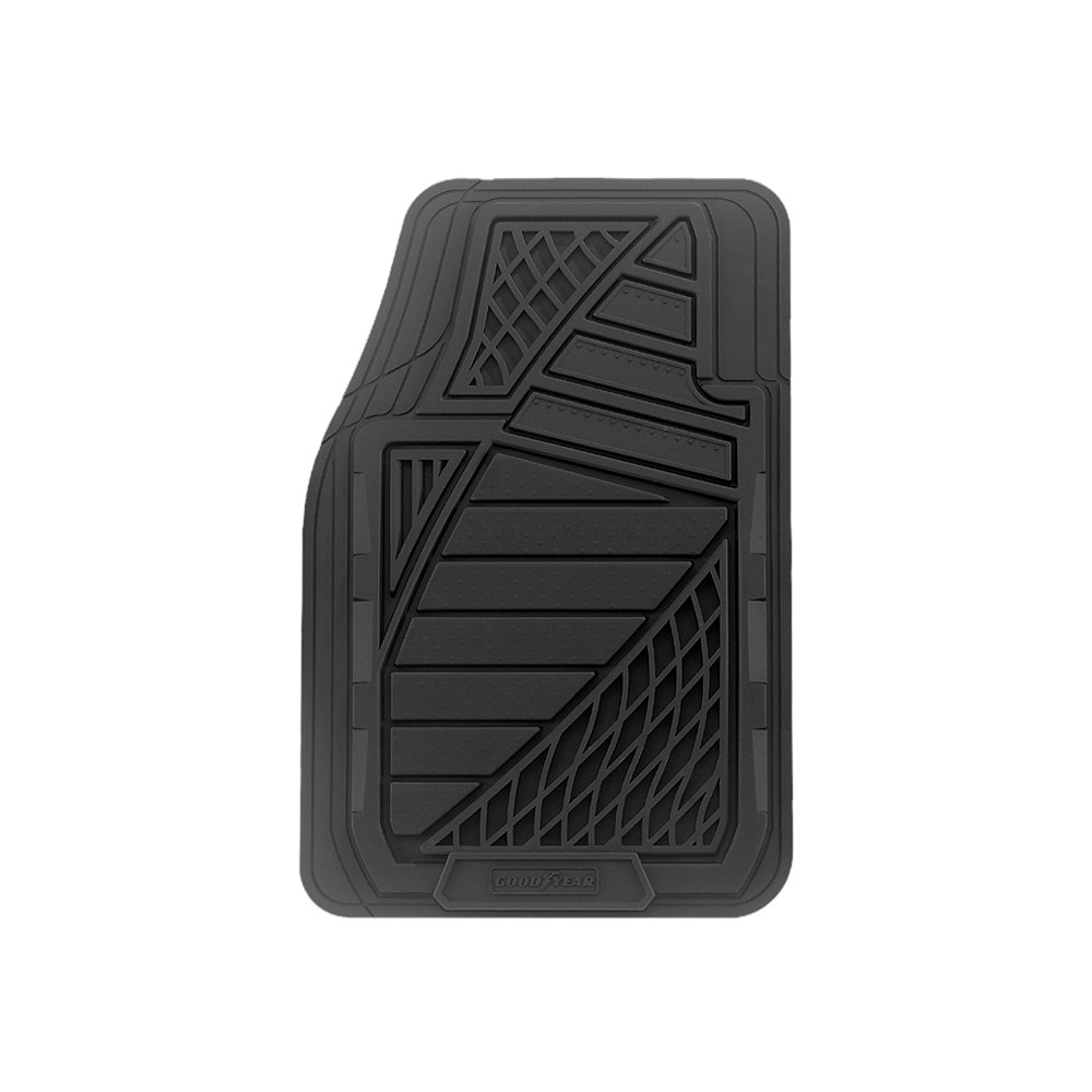 Kraco GY6204BLK Goodyear Premium Black Rubber Universal-Fit Front Floor Mat - 4 Piece