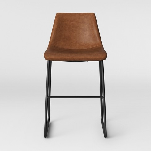Sensational Bowden Faux Leather And Metal Counter Stool With Black Legs Caramel Brown Project 62 Customarchery Wood Chair Design Ideas Customarcherynet