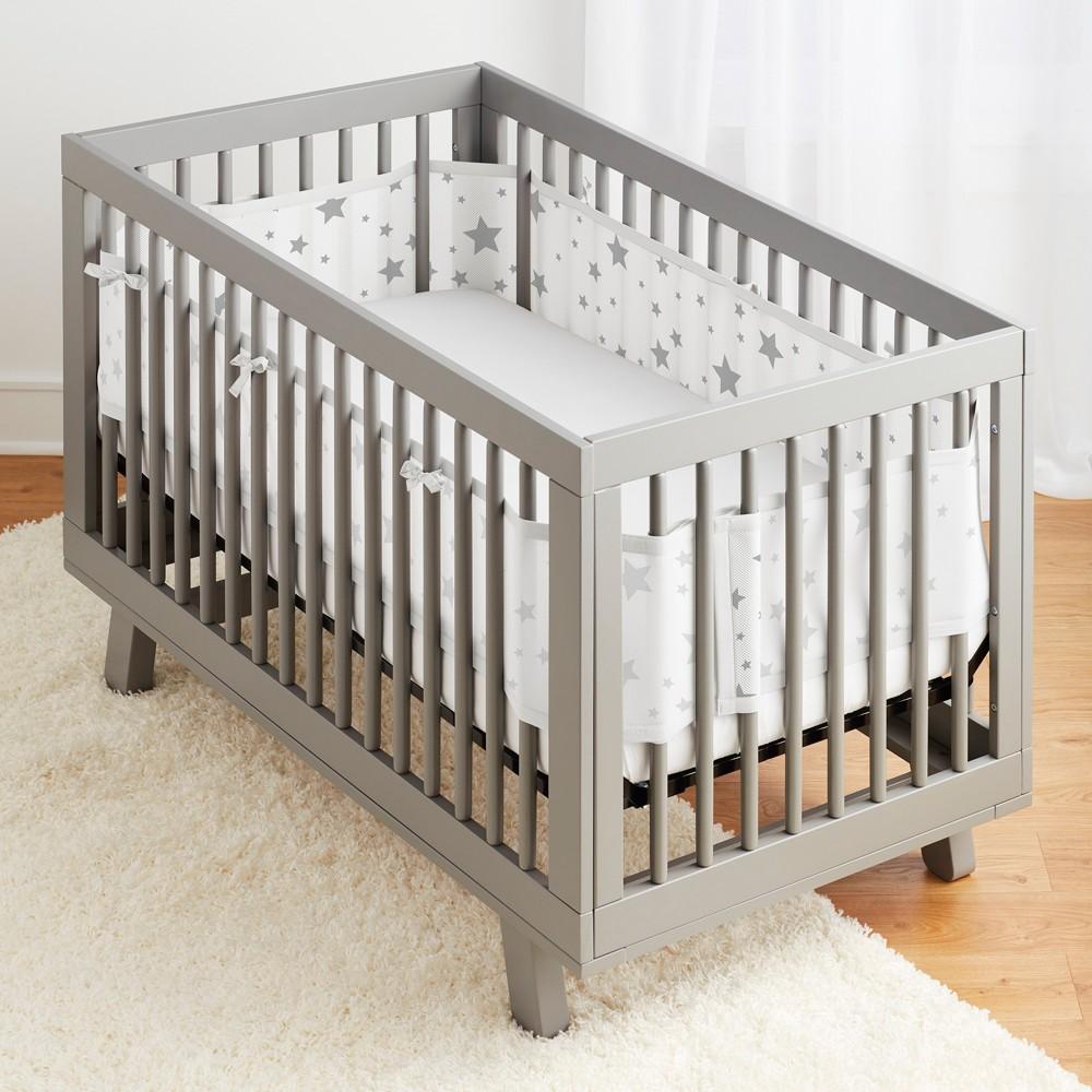 Image of BreathableBaby Mesh Crib Liner - Star Light Gray/White