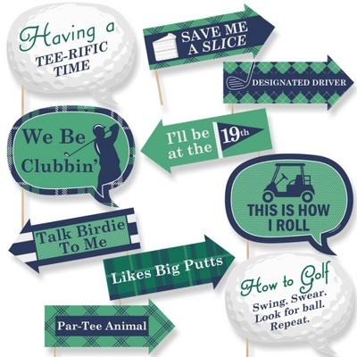 Big Dot of Happiness Funny Par-Tee Time - Golf - Party Photo Booth Props Kit - 10 Piece