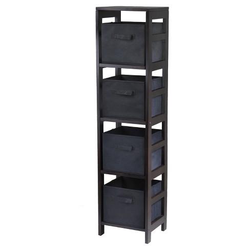 5pc Capri Set Storage Shelf with Folding Fabric Baskets Espresso Brown - Winsome - image 1 of 1
