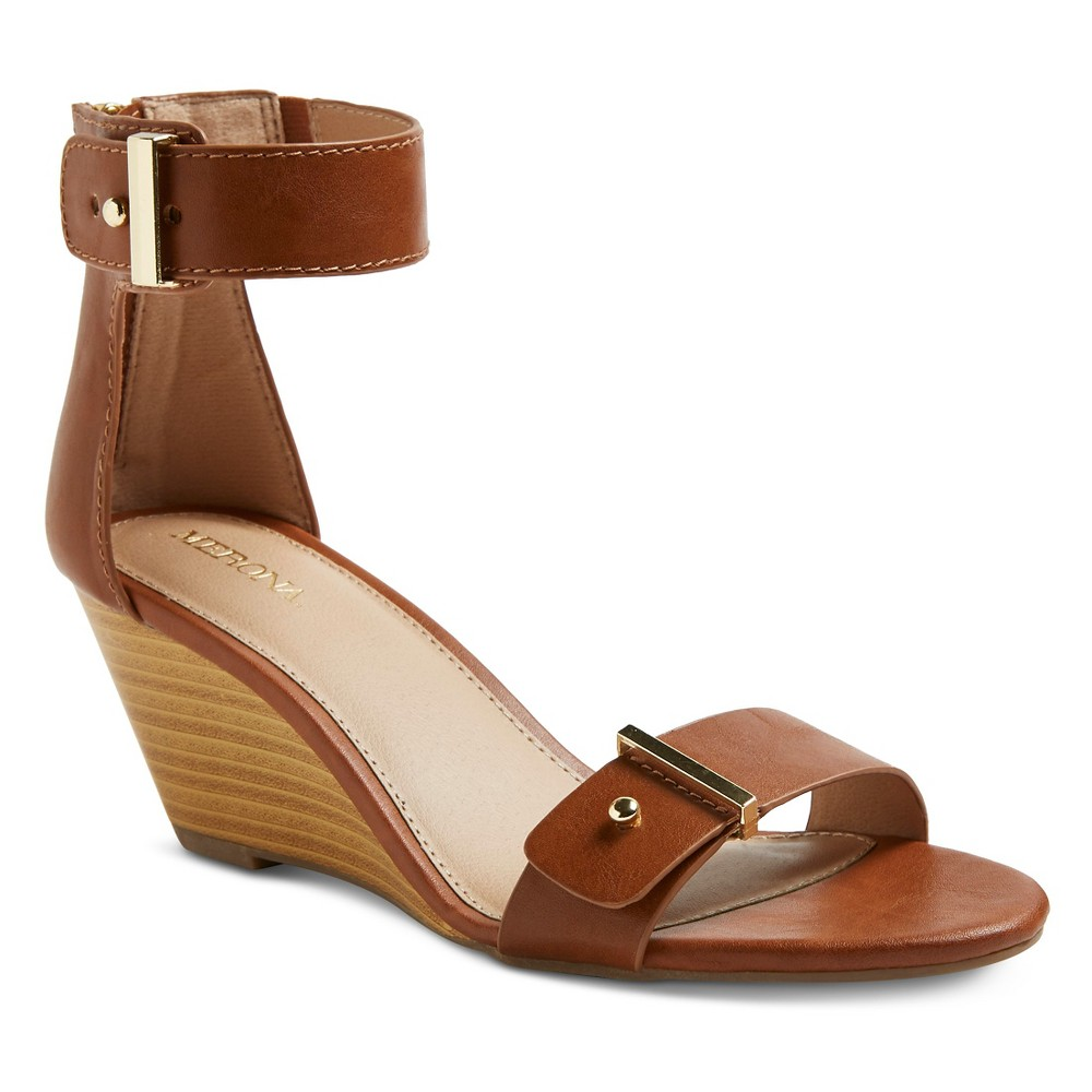 Women's Indra Ankle Strap Sandals - Merona Cognac (Red) 6