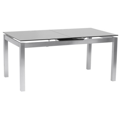 IvanExtendable Dining Table in Brushed Stainless Steel and Gray Tempered Glass Top - Armen Living