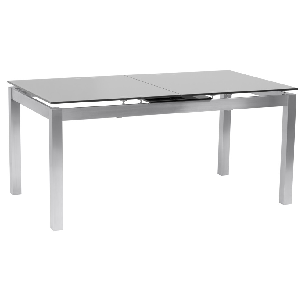 Ivan Extension Dining Table in Brushed Stainless Steel (Silver) and Gray Tempered Glass Top - Armen Living