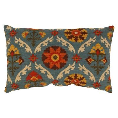 Turquoise Mayan Medallion Lumbar Throw Pillow (11.5 x18.5 )- Pillow Perfect