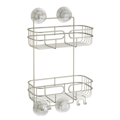 mDesign Metal Suction Large Bathroom Shower Caddy with Hooks - 2 Tier, Satin