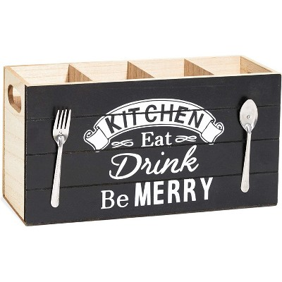 """Rustic Wood Kitchen Cooking Utensil Holder Organizer Storage Caddy, 4 Compartments for Cutlery Silverware Flatware, 11.5""""x3""""x5.6"""" Brown/Black"""