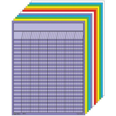 Creative Shapes Etc Large Vertical Incentive Chart Set, 22 x 28 Inches, Assorted Color, set of 12