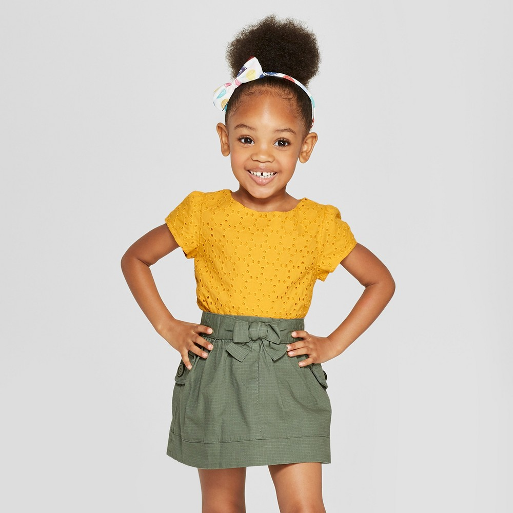 Toddler Girls' Short Sleeve Blouse - Cat & Jack 4T, Yellow