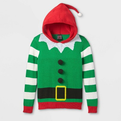 Boys' Elf Hooded Pullover Sweater - Green