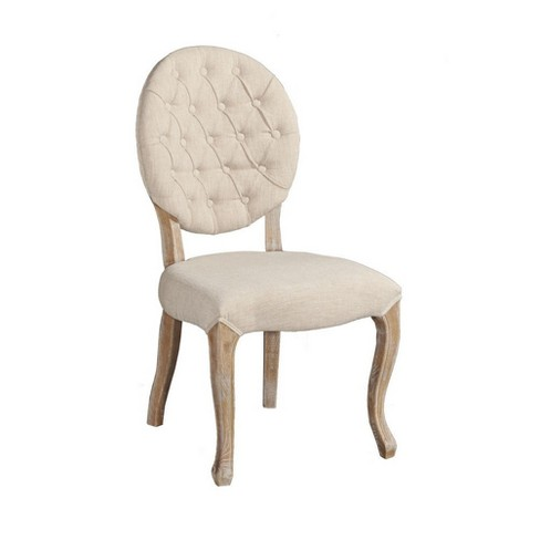 Tufted Back Set of 2 Dining Chairs Natural - Linon - image 1 of 4