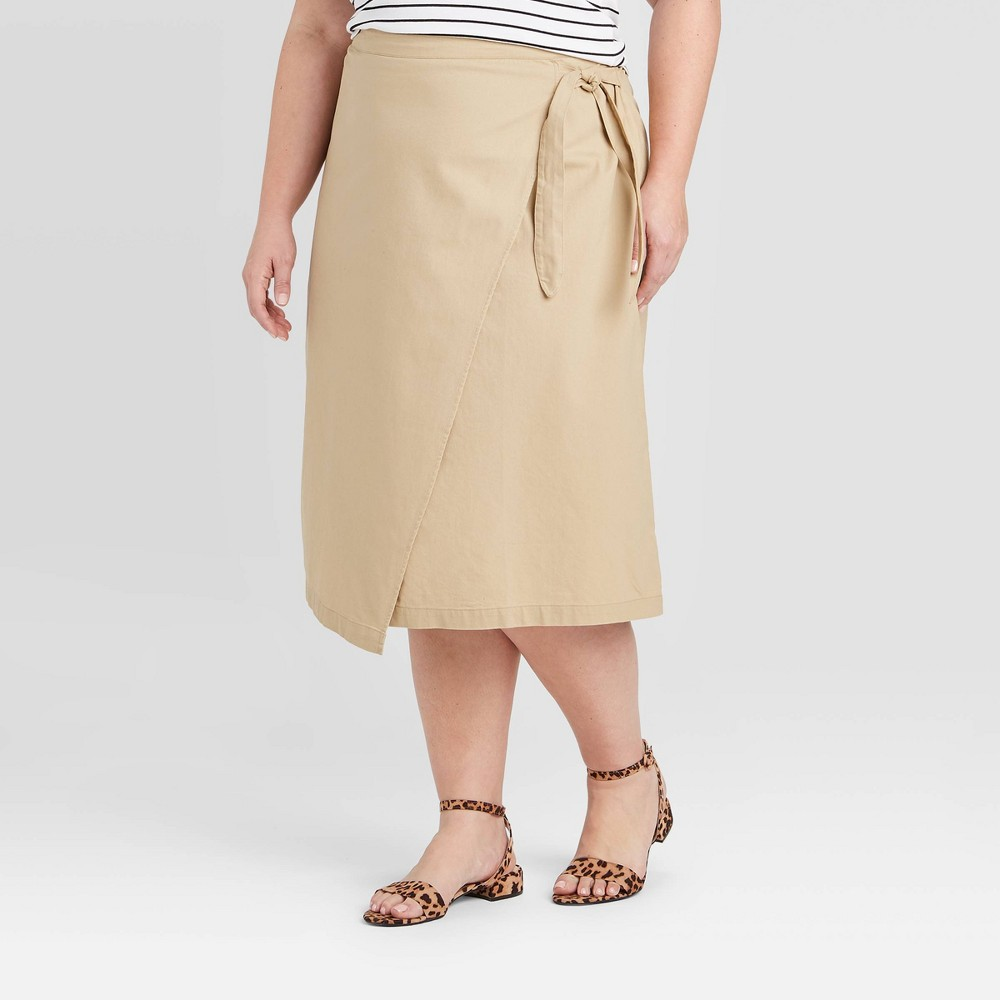 Image of Women's Plus Size Wrap Midi Skirt - Ava & Viv Tan 1X, Women's, Size: 1XL, Yellow