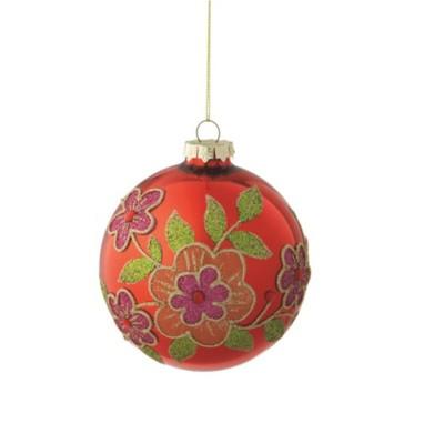 "Ganz Shiny Glass Ball with Flower Design Christmas Ornament 3.5"" - Red"