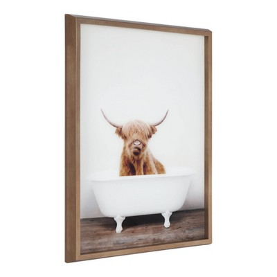 """18"""" x 24"""" Blake Highland Cow in Tub Framed Printed Glass by Amy Peterson Gold - Kate and Laurel"""
