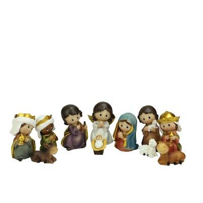 "Northlight Set of 11 Vibrantly Colored Christmas Nativity Figurine - 3.5"""