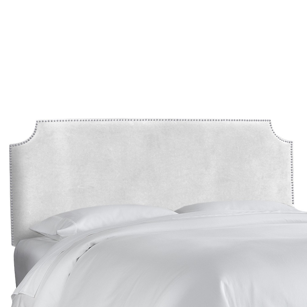 Queen Lombard Nail Button Notched Headboard White Microfiber - Skyline Furniture