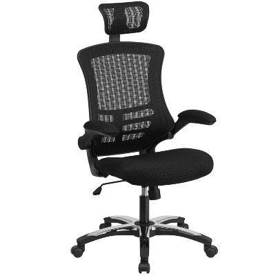 Flash Furniture High-Back Black Mesh Swivel Ergonomic Executive Office Chair with Flip-Up Arms and Adjustable Headrest, BIFMA Certified