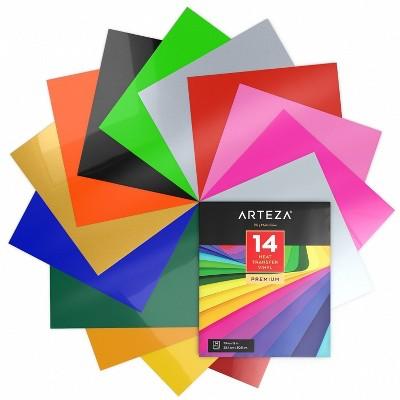 """Arteza Heat Transfer Vinyl, Assorted Colors, 10"""" x 12"""" Sheets, Set of 14"""