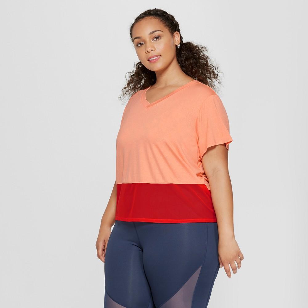 Women's Plus Size Color Block Mesh T-Shirt - JoyLab Cantaloupe Orange 1X