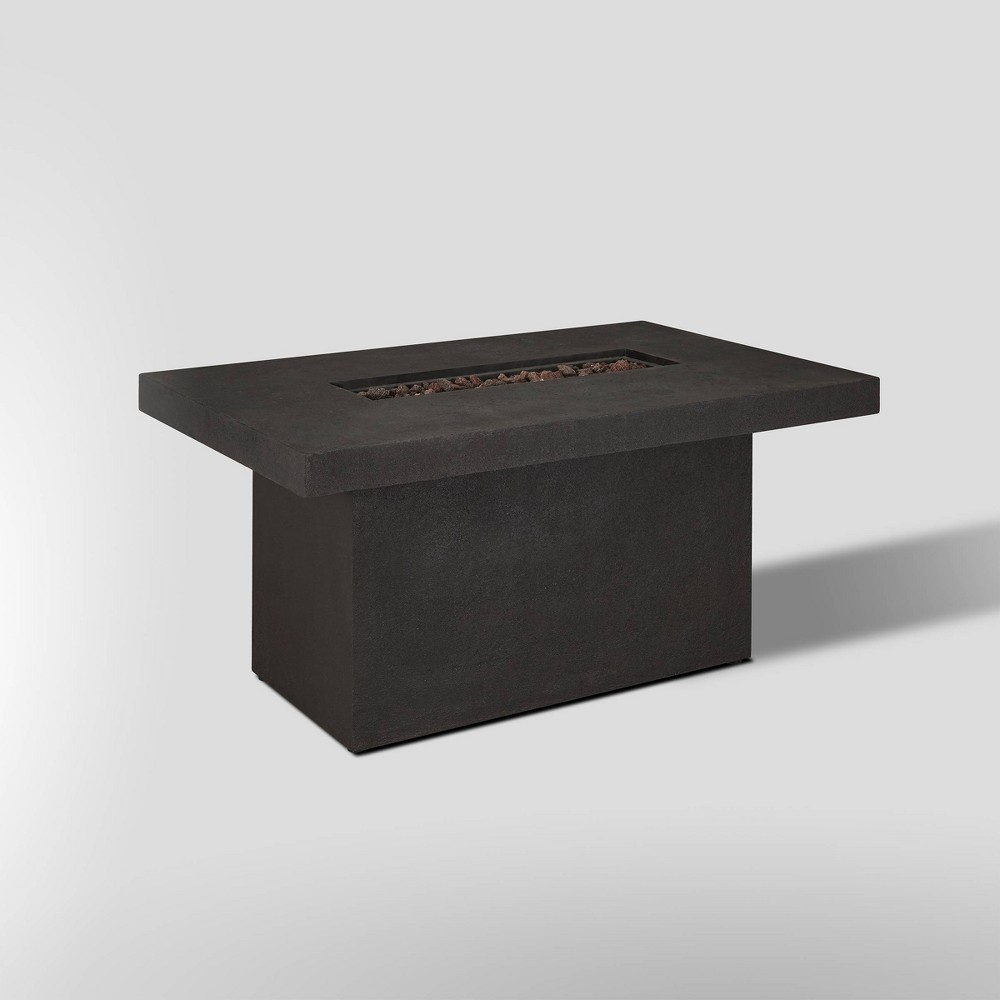Image of Ventura Rectangle Fire Pit with Natural Gas Kit Kodiak Brown - Real Flame