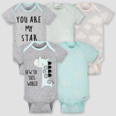 Gerber Baby 5pk Short Sleeve Giraffe Bodysuits - Turquoise/Gray 12M