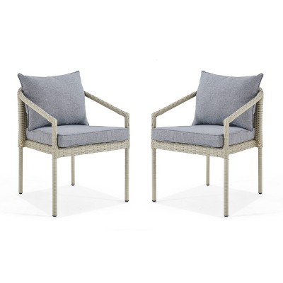 2pk All-Weather Wicker Windham Outdoor Chairs with Cushions Dark Gray - Alaterre Furniture