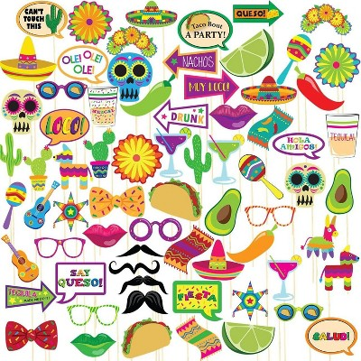 Blue Panda 72-Pack Mexican Fiesta Photo Booth Props Kit, Selfie Props for Cinco de Mayo Party Supplies