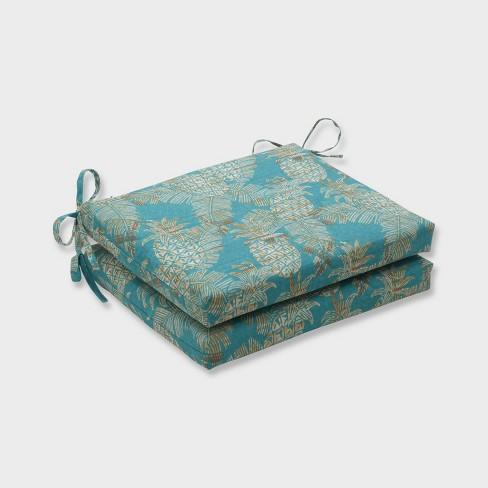 2pk Carate Batik Lagoon Squared Corners Outdoor Seat Cushions Blue - Pillow Perfect - image 1 of 1