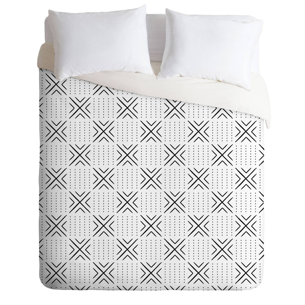 Discounts Queen/Full Little Arrow Design Co Mud Cloth Tile Duvet Set  - Deny Designs