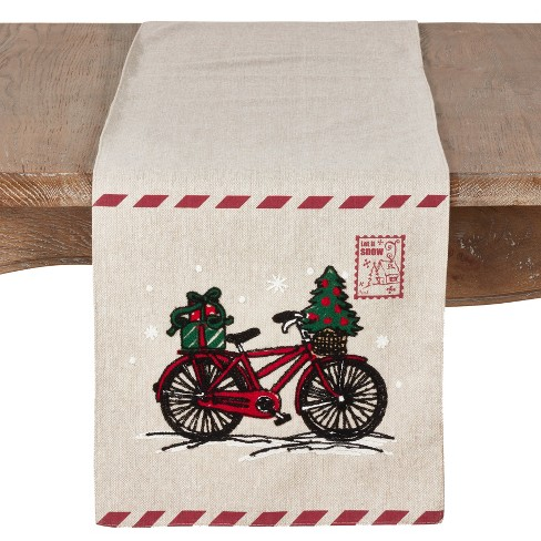 Christmas Table Runner.72 X13 Christmas Table Runner With Holiday Bicycle And Stamp Design Natural Saro Lifestyle