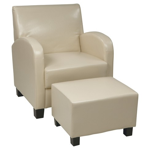 Marvelous Faux Leather Club Chair With Ottoman Cream Osp Home Furnishings Beatyapartments Chair Design Images Beatyapartmentscom