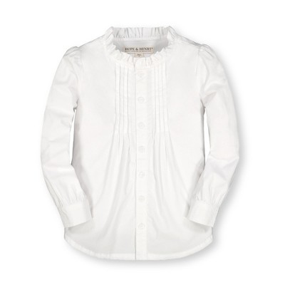 Hope & Henry Girls' Long Sleeve Ruffle Neck Button Down Blouse with Pintucking, Toddler