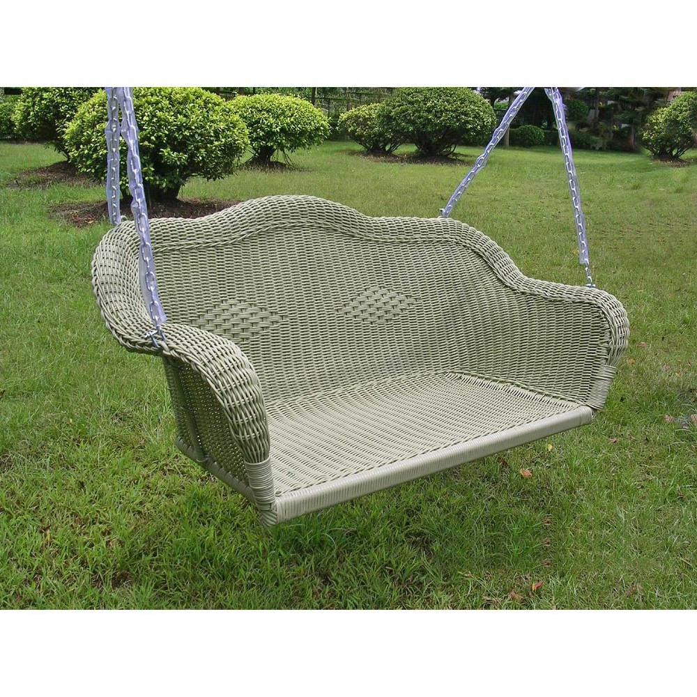 Image of International Caravan Chelsea Wicker Hanging Porch Swing - Antique Moss, Ant Moss