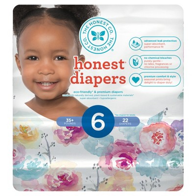 Honest Company Diapers, Rose Blossom - Size 6 (22ct)