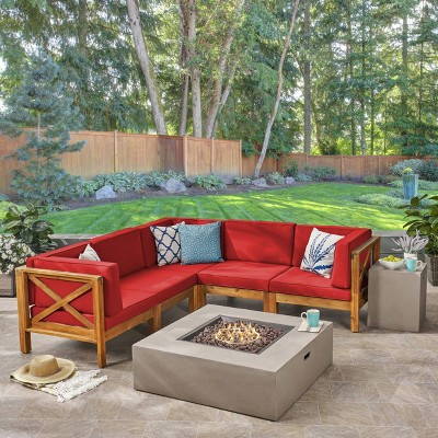 Brava 7pc Acacia Sectional Sofa Set with Fire Pit - Christopher Knight Home