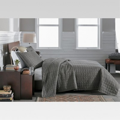 Gray Vintage Washed Solid Quilt (King) - Threshold