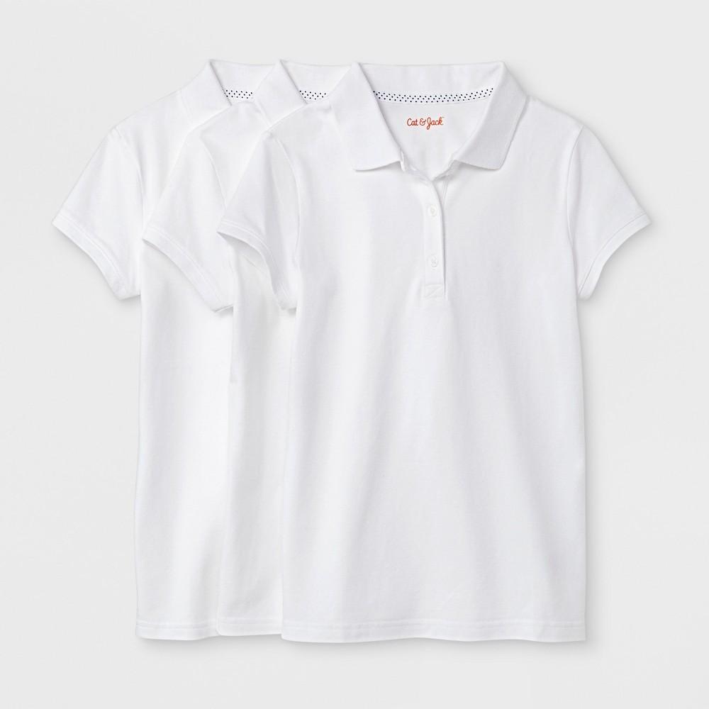 Girls' 3pc Short Sleeve Pique Uniform Polo Shirt - Cat & Jack White S