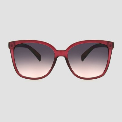 Women's Crystal Square Plastic Sunglasses - A New Day™ Burgundy
