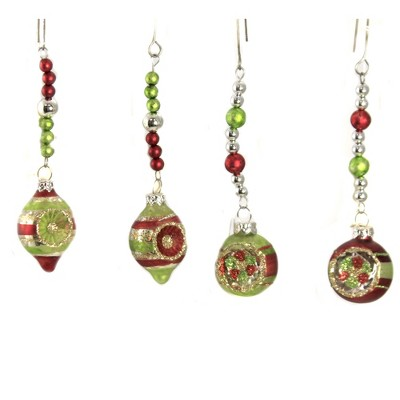 """Christmas 5.0"""" Dangle Reflector Ornament Set/4 Lowe Traditional Indent Bead  -  Tree Ornaments"""