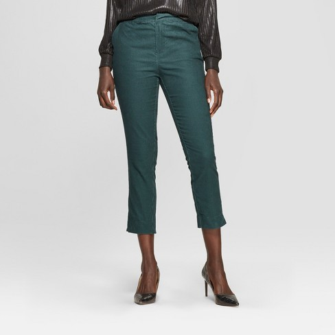 Women's Corduroy Jogger Crop Pants - Who What Wear™ Pine - image 1 of 3