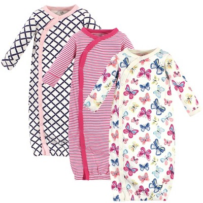 Touched by Nature Baby Girl Organic Cotton Kimono Long-Sleeve Gowns 3pk, Bright Butterflies