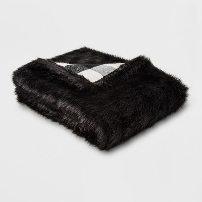Faux Fur Reverse To Check Throw Blanket Black/Cream - Threshold™