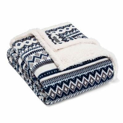 "60""x70"" Shelton Fair Isle Throw Blanket Blue - Eddie Bauer"
