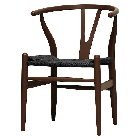 Mid Century Modern Wishbone Chair Brown Black Baxton Studio