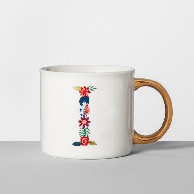 Monogrammed Porcelain Floral Mug I 16oz White/Gold - Opalhouse™