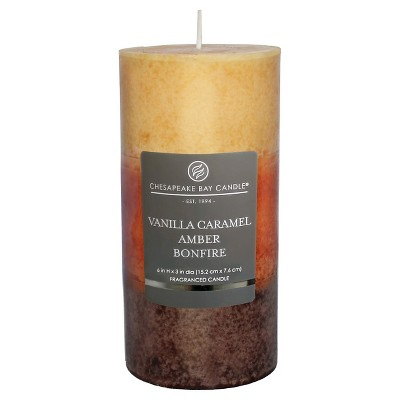 6  x 3  Layered Pillar Candle Vanilla Caramel/Amber/Bonfire - Chesapeake Bay Candle
