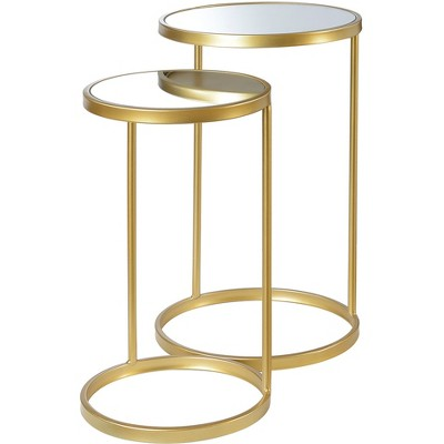 Gold Coast Round Nesting Mirror End Tables - Convenience Concepts