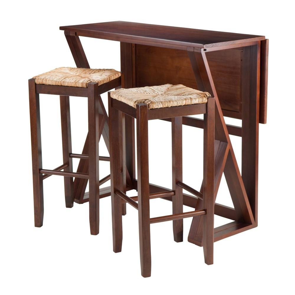 3 Piece Harrington Set Drop Leaf High Table with Bar Stools Wood/Walnut (Brown) 29 - Winsome