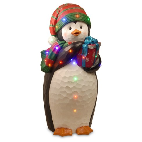 "41.5"" LED Lit Penguin Holding Gift Sculpture - image 1 of 1"